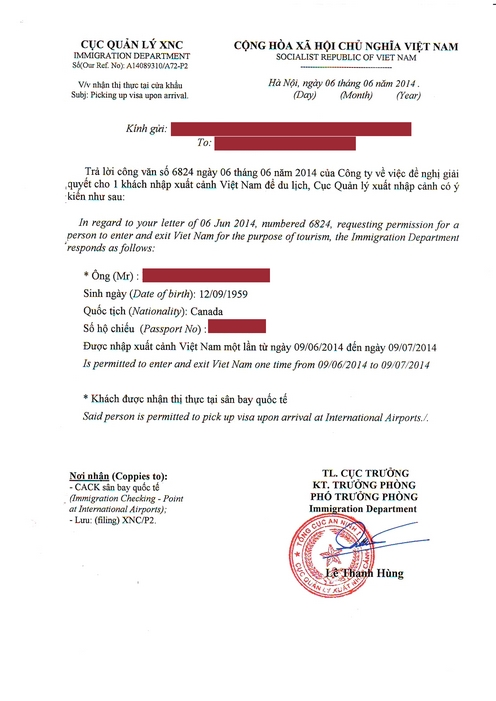 WHAT IS THE VIETNAM PRIVATE APPROVAL LETTER