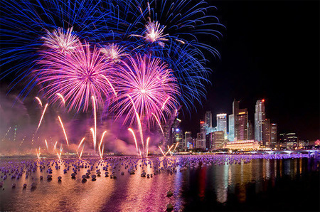Firework exhibition on Saigon River