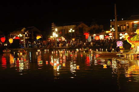Hoi An at night with colorful lanterns